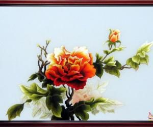 """Hand –embroidered picture: """"Peony Flowers"""""""