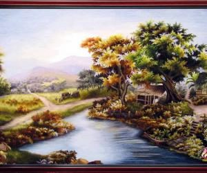 """Hand- embroidered picture: """"The countryside"""""""