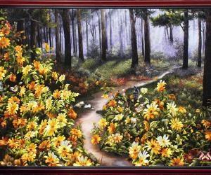 "Hand embroidery ""Season of yellow Tithonia Diversifolia"""
