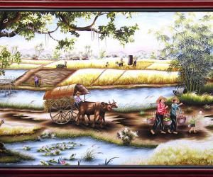 High quality embroidery: An afternoon in the countryside