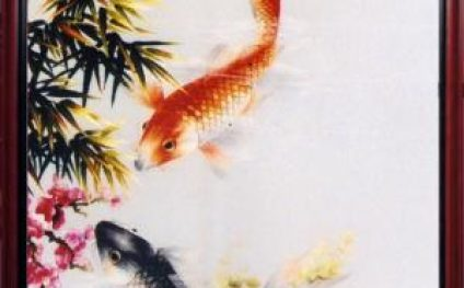 """High quality embroidery """"Two fish of good fortune"""""""