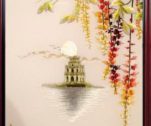 """The hand embroidered picture """"The Sword Lake"""" seems to take the entire Hanoi autumn into your house"""