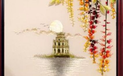 "The hand embroidered picture ""The Sword Lake"" seems to take the entire Hanoi autumn into your house"